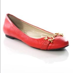 C. WONDER~Red Hibiscus Cap-Toe Horsebit Flats~9.5
